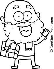 bart, verrückt, geschenk, karikatur, unter, glücklich, arm, ...