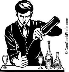 bartender at the bar with bottles - cartoon, hand drawn,...