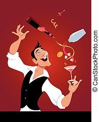 Bartender at work - Mixologist demonstrates flair bartending...