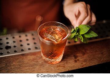 Bartender decorates cocktail mint leaves no face - Bartender...