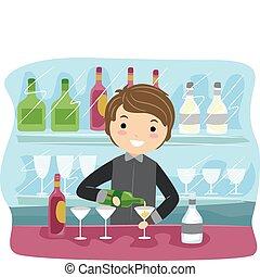 Bartender - Illustration of a Bartender at Work
