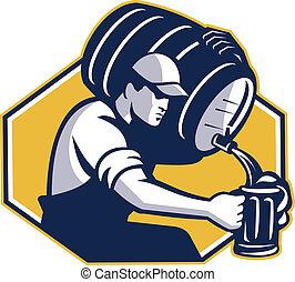 bartender, flytande, kagge, trumma, öl, retro