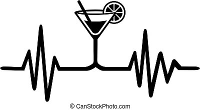 Bartender heartbeat line - Heartbeat pulse with drink from...