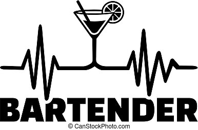 Bartender heartbeat line with job title - Bartender with...