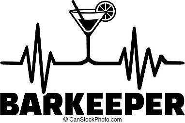 Bartender heartbeat line with job title german