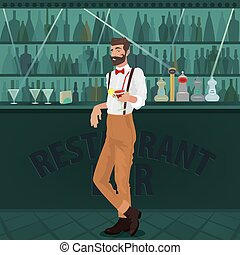 Bartender hipster offers cocktail at bar - Cheerful and...