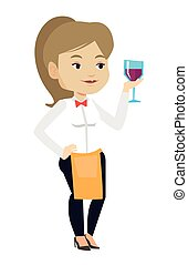 Bartender holding a glass of wine in hand.