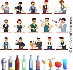 Bartender icons set, cartoon style