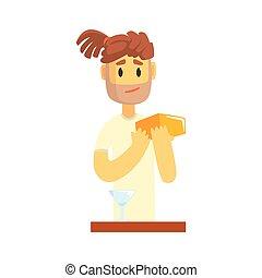 Bartender man character with dreadlocks standing at the bar counter, barman at work cartoon vector Illustration