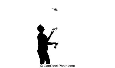 bartender man on a white background. silhouette. slow motion