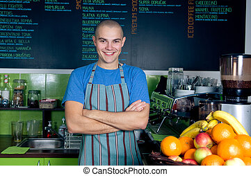 Bartender or owner of small cafe - Confident owner or...