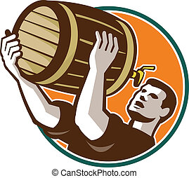 Bartender Pouring Drinking Keg Barrel Beer Retro