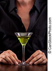 Bartender pours drink