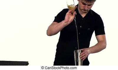 bartender preparing alcoholic coctail with bar, close up. slow motion