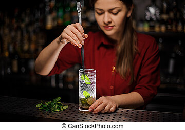 bartender preparing mojito cocktail drink