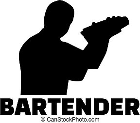 Bartender silhouette with shaker - Bartender silhouette with...