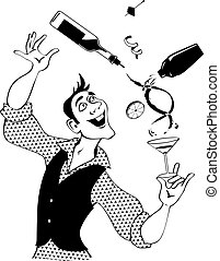 Bartender - Mixologist demonstrates flair bartending making...