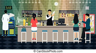 bartender - Bartender mixes liquor with customers at the bar...