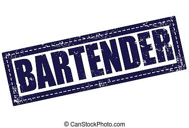 bartender grunge stamp whit on vector illustration