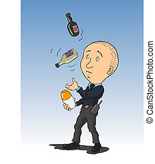 Bartender - juggling a security guard with two bottles and...