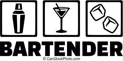 Bartender with job icons - Icons for bartender with job...