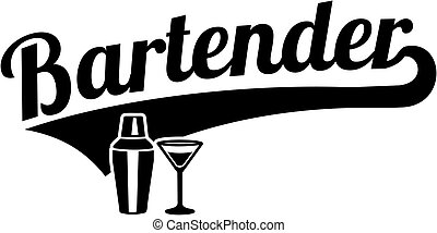 Bartender word retro style with shaker and glass