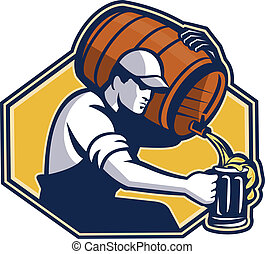 Bartender Worker Pouring Beer From Barrel To Mug