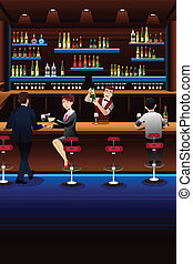 Bartender working in a bar - A vector illustration of...