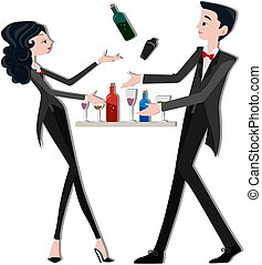Bartenders with clipping path