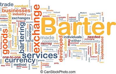 Background concept wordcloud illustration of barter