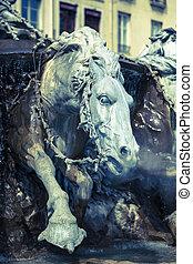 bartholdi, 馬, 噴水, ライオン
