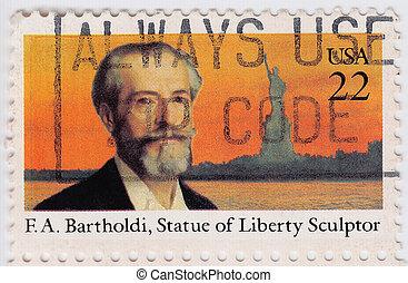 bartholdi, 1985, アメリカ, 彫刻家, 切手, :, -, 自由, f.a., 像, ∥ころ∥, ショー...