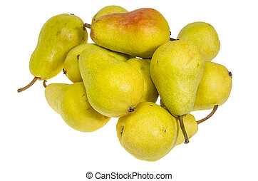 Bartlett pears just ripe and ready to eat - Group of yellow ...
