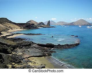 Bartolome Island, Galapagos. - Submerged volcanic crater...