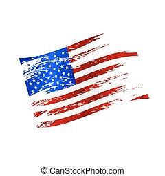 barva, americký, celostátní vlaječka, grunge, móda, eps10