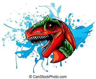 barva, dinosaurus, kůže, kreslení, hlavička, vektor, hněď, skica