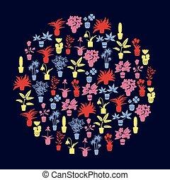 barva, domů, houseplants, a, květiny, do, hrnec, ikona, eps10