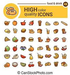 barva, food ikona, dát