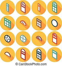 barva, isometric, dát, o, byt, ikona, okno