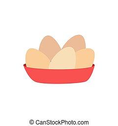 barva, jídlo, vejce, plný
