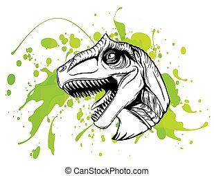 barva, kůže, dinosaurus, kreslení, skica, vektor, hněď, hlavička