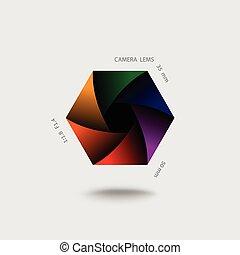 barva, kamera, uzávěrka, vektor, white., ikona