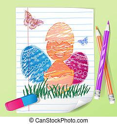 barva, kuře, poznamenat, kreslení