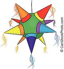 barva, mexičan, pinata, forma, hvězda, jako, strana