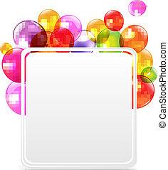 barva, narozeniny, obláček, karta, šťastný