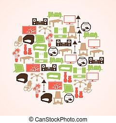 barva, obývací pokoj celodenní, ikona, dát, do, kruh, eps10
