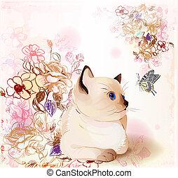 barva vodová, karta, kotě, motýl, pozdrav, dívaní, thai, narozeniny, style., za