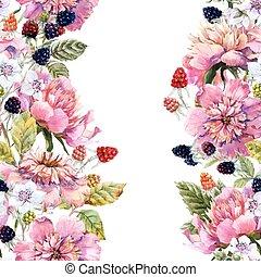 barva vodová, květinový, komponování