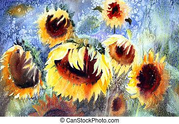 barva vodová, překrásný, malba, sunflowers.
