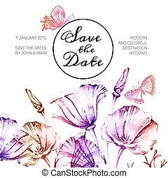 barva vodová, vinobraní, svatba, dat, flowers., pozvání,...
